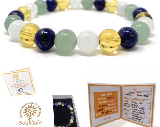 Libra Crystal Bracelet - Power Bracelet - Zodiac Birthstones - Gift Box & Libra Tag - Moonstone, Green Aventurine, Citrine, Lapis Lazuli