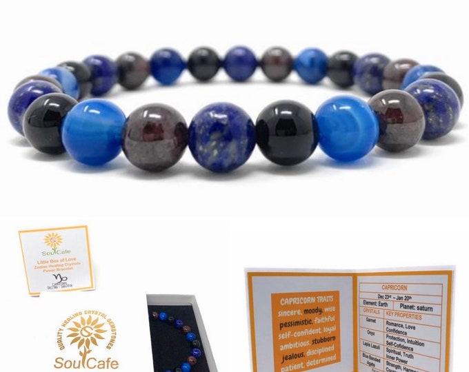 Capricorn Crystal Bracelet - Power Bracelet - Zodiac Birthstones - Gift Box & Capricorn Tag - Garnet, Blue Agate, Onyx, Lapis Lazuli