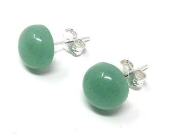 Green Aventurine & Sterling Silver 8mm Stud Earrings - Healing Gemstone - gift box - Little Box of Love - gift tag