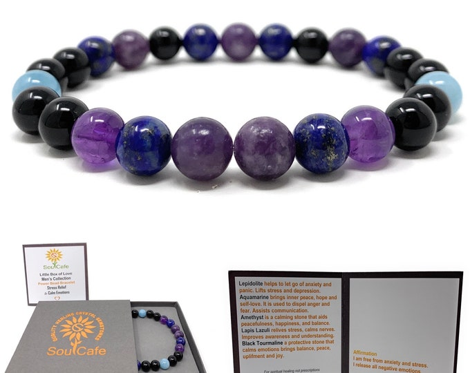 Men's Stress Relief and Calm Emotions Power Bead Bracelet - Healing Crystal Gemstone Bracelet - Soul Cafe Gift Box & Tag