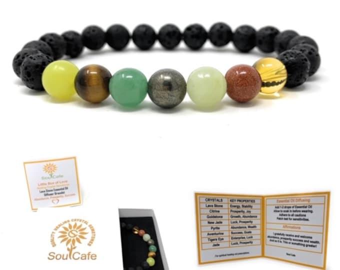 Prosperity Bracelet - Lava Stone Diffuser Gemstone Bracelet - Success Abundance Bracelet - Essential Oil Abundance Bracelet - Gift Box & Tag