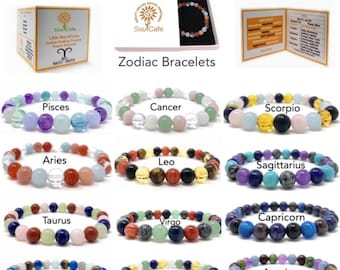 Soul Cafe Zodiac Healing Crystal Bracelets - Size Choice Customisation - Includes Gift Box & Information Tag