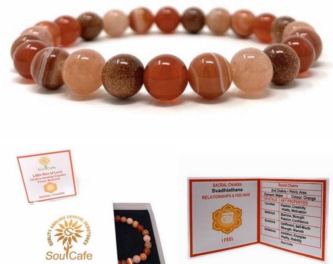 Sacral Chakra Bracelet - Power Bead Bracelet - Healing Crystal Gemstones - Carnelian, Sardonyx, Goldstone, Sunstone - Gift Box and Tag