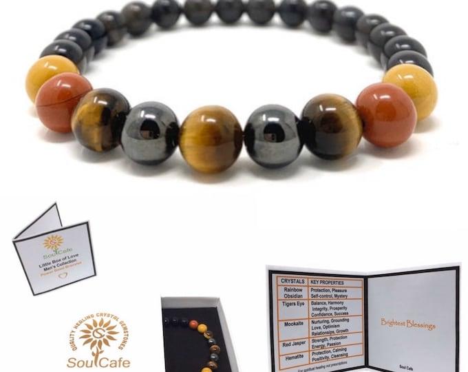 Men's Power Bead Bracelet - Rainbow Obsidian - Tigers Eye - Red Jasper - Mookaite - Hematite - Soul Cafe Gift Box & Tag