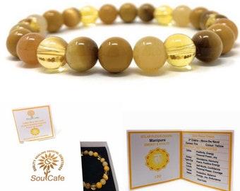 Solar Plexus Chakra Bracelet - Power Bead Bracelet - Healing Gemstones - Citrine, Honey Calcite, Tigers Eye, Yellow Jasper - Gift Box & Tag