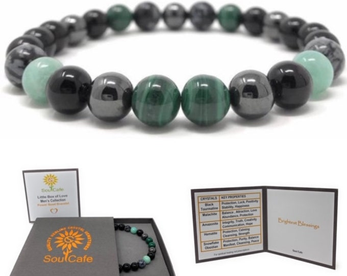 Men's Power Bead Bracelet - Black Tourmaline, Malachite, Amazonite, Hematite, Snowflake Obsidian- Soul Cafe Gift Box & Tag