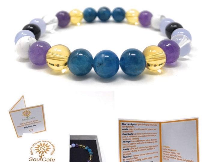 Arthritis and Pain Ease Power Bead Bracelet - Quality Healing Gemstone Bracelet - Soul Cafe Gift Box & Information Tag
