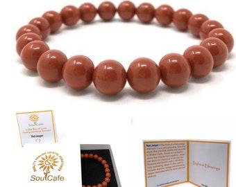 Red Jasper Power Bead Crystal Bracelet - Genuine Healing Crystal Gemstone Bracelet - Soul Cafe Gift Box & Tag
