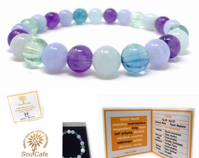 Pisces Crystal Bracelet - Power Bracelet - Zodiac Birthstones - Gift Box & Pisces Tag - Aquamarine, Blue Lace Agate, Fluorite, Amethyst