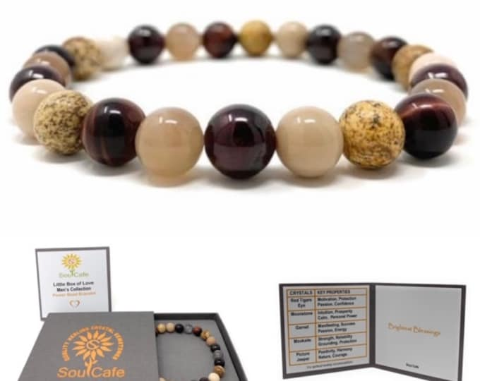 Men's Stretch Power Bead Bracelet - Red Tigers Eye, Moonstone, Garnet, Picture Jasper, Mookaite Gift Box & Tag