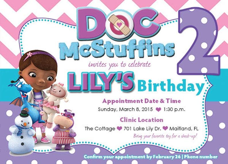 Customized Doc McStuffins Birthday Invitation Front Design