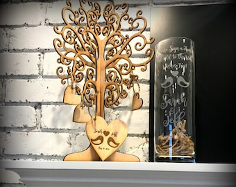 3D Wedding Wishing Guest Book Tree - Rustic Tree Wedding Guest Book - Signing Heart Tree Custom Wishing Tree - Love Bird Guest Book