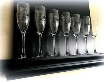 b7649f4621d6 10 Qty Custom Engraved Etched Printed Personalized Champagne Glass Flutes  Set of 10