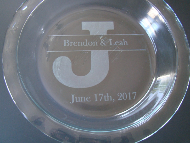 Custom Engraved Etched Printed Personalized Large Block Letter Monogram Initial Wedding Gift Pie Plate