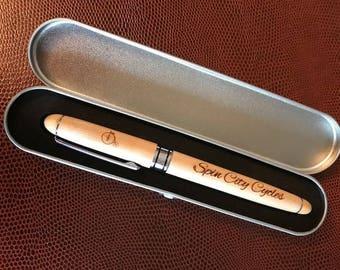 Clair bois de saule naturel gravé stylo bois avec coffret de rangement