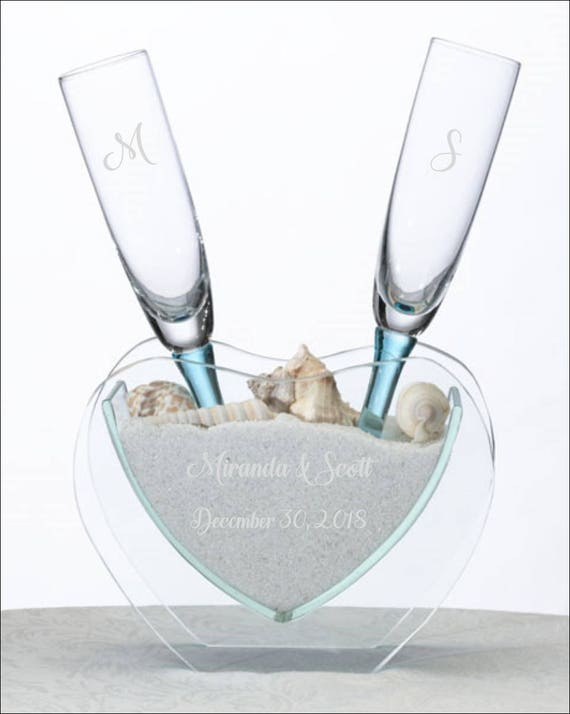 Personalized Heart Unity Vase Toasting Champagne Flute Glasses Etsy