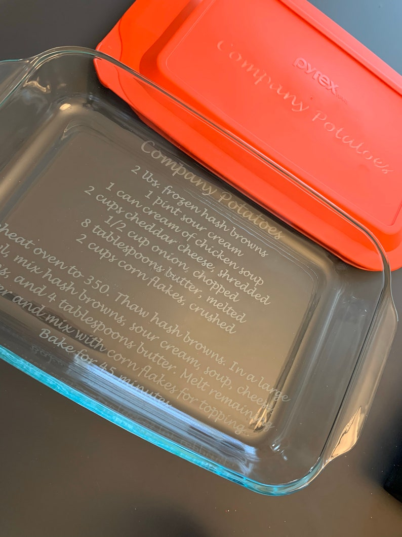 Custom Engraved Etched Decorative Dish Personalized Large 9 x 13 Casserole Dish andor Printed Lid Pyrex