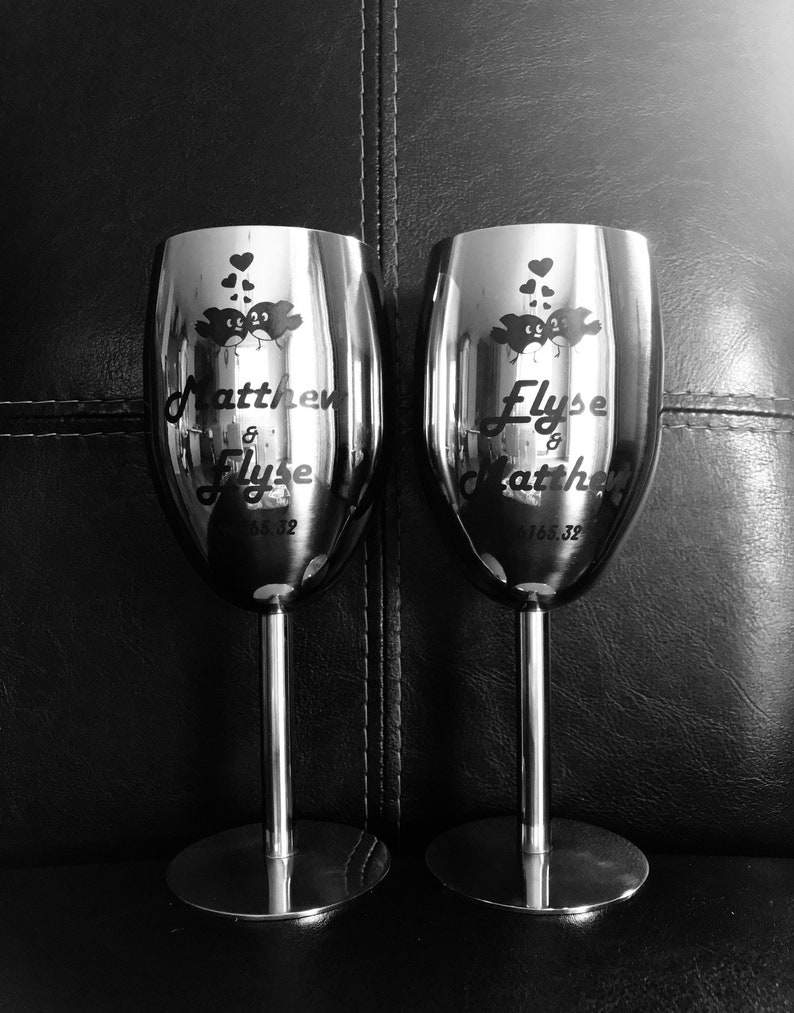 8621bab124bf Custom Printed Personalized Stainless Steel Champagne Flutes | Etsy