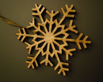 Rustic Wooden Laser Created Snowflake Tree Ornaments Set of 21