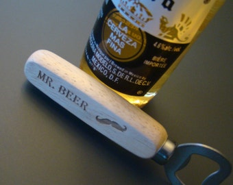Personalized Wood Bottle Opener - Custom Engraved Bottle Opener - Gift for Dad - Groomsmen Gifts Custom - Home Bar Gift - Each
