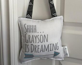 Sleepy Baby Pillow- Custom Sleepy Pillow for Front Door or Nursery-Sleeping Baby Sign - Baby Sleeping Sign
