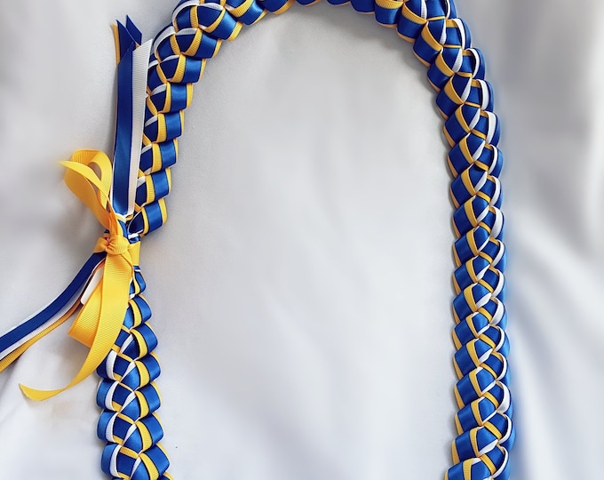 Graduation Lei - Dusty Royal Blue, Light Gold & White
