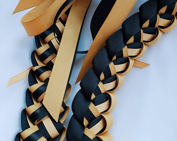 Graduation Lei - Old Gold & Black