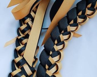 Graduation Lei - Black & Old Gold