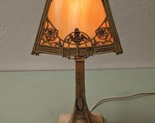 Boudoir Table Lamp with Polychrome Finish and Slag Glass shade