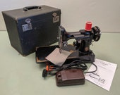 1951 Singer 221 Featherweight Centennial Blue-Badge Sewing Machine w Pedal and Case