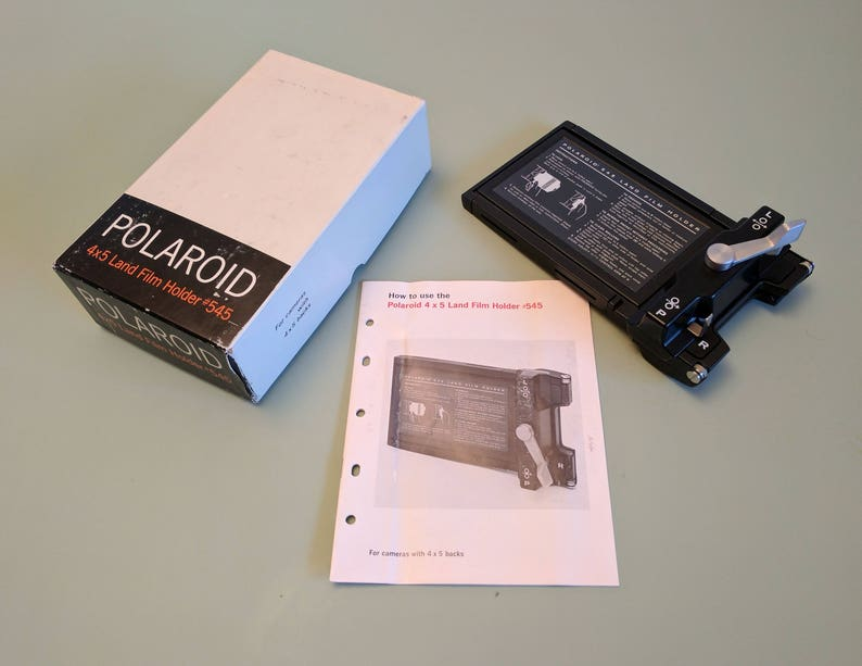Polaroid 545 Land Film Holder, Boxed With Instructions for 4x5 inch film