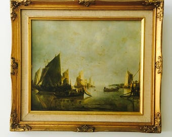 Vintage Print Gold gilt frame Harbour