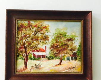 Vintage original painting Australia Farmhouse