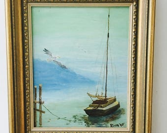 Vintage Australian painting small beautifully coastal