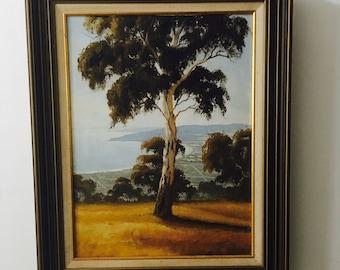 Vintage original Painting Australian Artist Mornington Arthurs Seat John Bredl Listed Artist