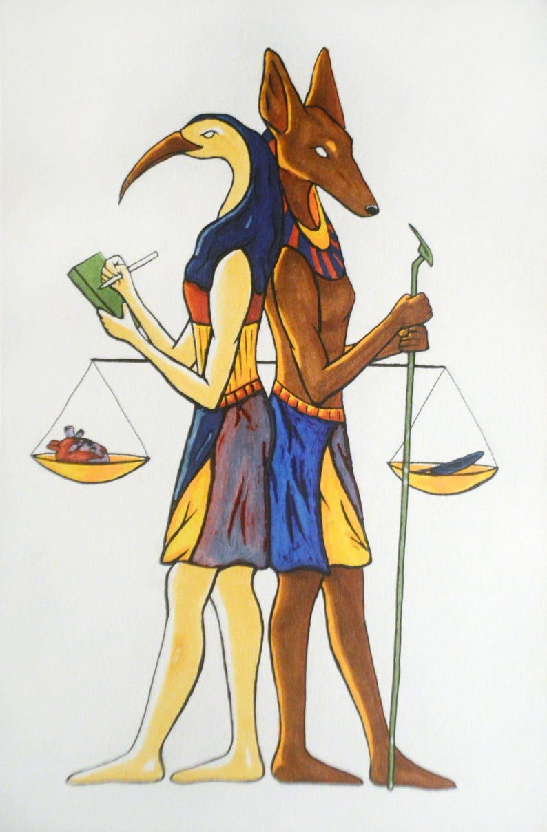 aa4232849 Egyptian Scales Thoth and Anubis Original Drawing   Etsy
