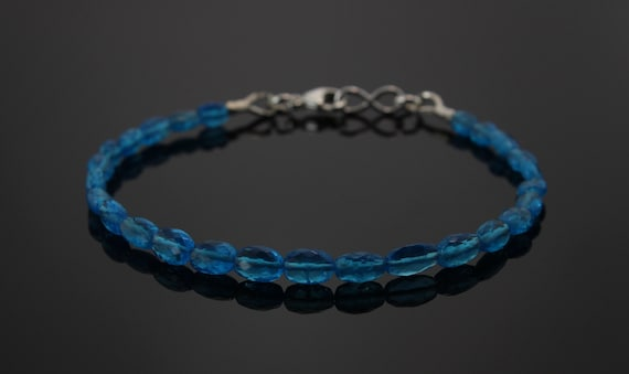 Blue Neon Apatite Beaded Bracelet Natural Gemstone Dainty Jewelry Blue Crystal Gemstone Beads Jewelry Birthday Gift for Her 925 Sterling Silver Chain