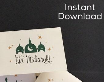 Printable Eid Mubarak Card; Digital Download Eid Mubarak Card; Modern Eid Card
