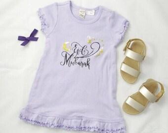 Eid Mubarak dress with ruffle sleeve and edge // Eid Mubarak girls dress // Ramadan // Eid // Muslim Baby Eid Clothes