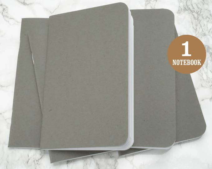 Gray Blank Notebook, 3.5 x 5.5 Inches, Rounded Corners, Bulk Notebooks, Small Sketchbook, Blank Page, Pocket Sized Notebook, Single Notebook