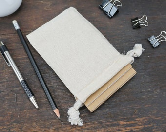 Kraft Notebook, 3.5 x 5.5 Inch, Pocket-Sized Notebook Set. Great Notebooks for Planning, Goals, and To Do Lists. Cloth Gift Bag Included.