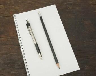 Wire Bound Notebook, 5.5 x 8.5 Inch, Black Journal, Sketchbook, Notes, Blank Journal, Notebook, Sketchbook, Bulk Journal, White Notebook