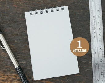Mini Wire Bound Notebook, 2.75 x 4.25 Inch, White, Notes, Blank Notebook, Mini Sketchbook, To Do List, Mini Notebook, Small Notes