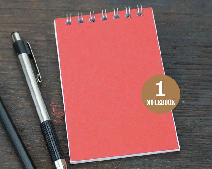 Mini Wire Bound Notebook, 2.75 x 4.25 Inch, Red, Notes, Mini Notes, Blank Notebook, Mini Sketchbook, To Do List, Mini Notebook, Small Notes