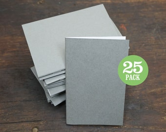 Bulk Gray Notebooks, 3.5 x 5.5 Inch, Kraft Cover, Blank Page Notebook. Great as Notebook, Sketchbook, or Small Blank Journals. Set of 25.