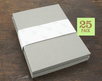 Blank Notecards with Envelope, Size A2, Gray Cards and Envelopes, Recycled Paper, Blank Envelopes, Blank Cards. 4.25 x 5.5 In. Set of 25.