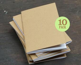 Kraft Notebooks, 3.5 x 5.5, Bulk Notebooks, Notebooks, Blank Pages, Sketchbook, Pocket Sized Notebooks, Small Journal. Set of 10.