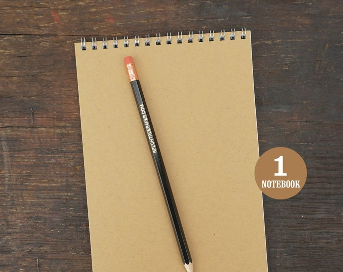 Wire Bound Notebook, 5.5 x 8.5 Inch, Notes, Kraft Brown, Kraft Sketchbook, Blank Notebook, Kraft Journal, To Do List, Kraft Notebook