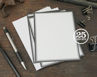 Black Double Outline Blank Flat Cards with Envelopes, A2 Size, 4.25 x 5.5 Inch, Set of 25. Great for Quick Notes, Thank You, Simple Design