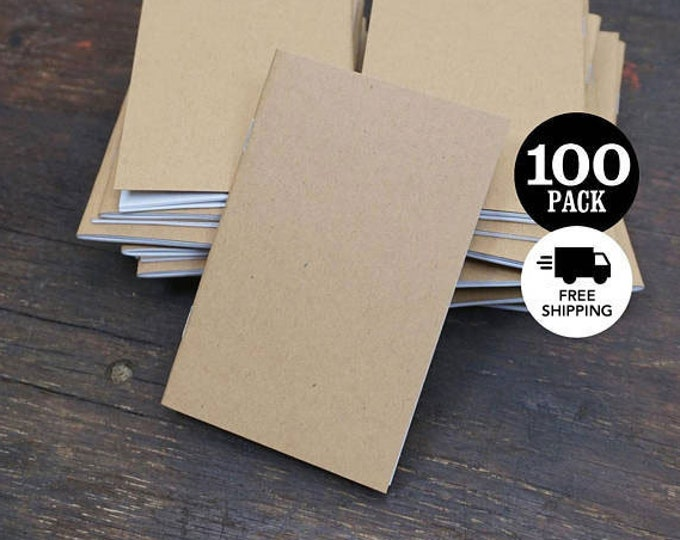 Bulk Kraft Notebooks, 3.5 x 5.5 Inch, Bulk Journal, Sketchbook, Blank Notebook, Journal, Blank Journal, Kraft Journal, Notebook, Set of 100.